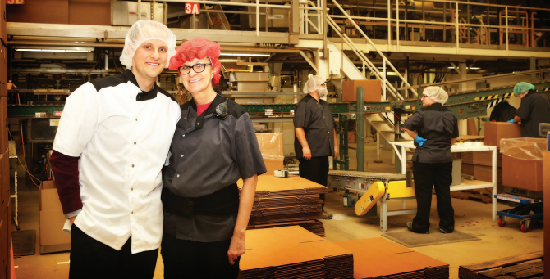 Taylor Aschliman in Pretzels, Inc. factory